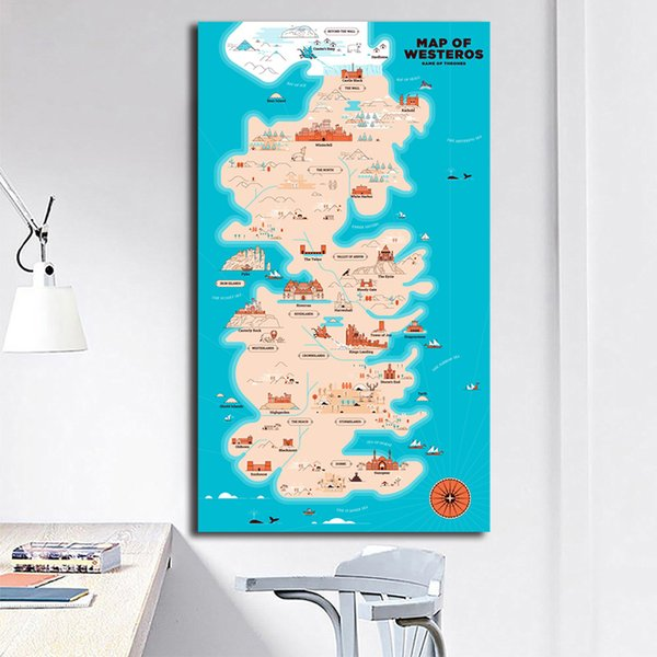 World Western Game Of Thrones Map Painting Westeros Posters And Prints Decorative Wall Art Pictures For Living Room Home Decor