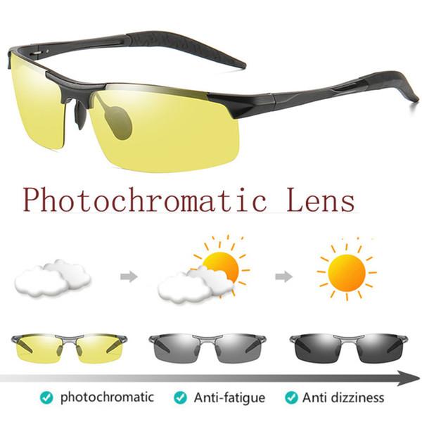 Alumínio Photochromic Polarized Sunglasses Mens Transição Lens Day Night Vision Driving óculos de Sol para Homens Óculos De Segurança