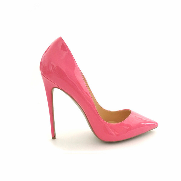 Casual Designer Sexy lady fashion woman Pink patent leather POINT TOE High Heels Shoes Sexy Slip on Stiletto HEELD 12CM 10CM 8CM BRAND NEW