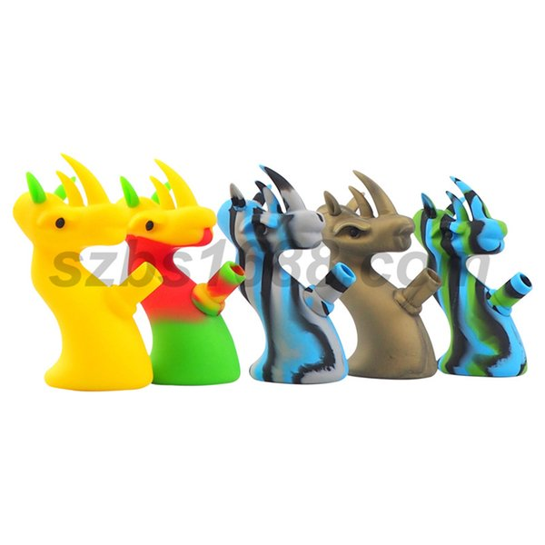 Cool Dragon shape silicone water pipe blunt bubbler portable smoking pipe 14mm joint water bong tobacco smoking pipe wax dab rig height 16cm