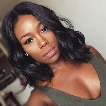 Short Lace Front Human Hair Wigs Brazilian Natural Wave Remy Hair Bob Wig with Pre Plucked Hairline Lace Wig Free Shipping