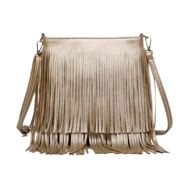 Wholesale-Nice Women Fashion Tassel Fringe Handbags Trend PU Leather Shoulder Bag Lady Black Leather Crossbody Bags Bolsa Feminina A172