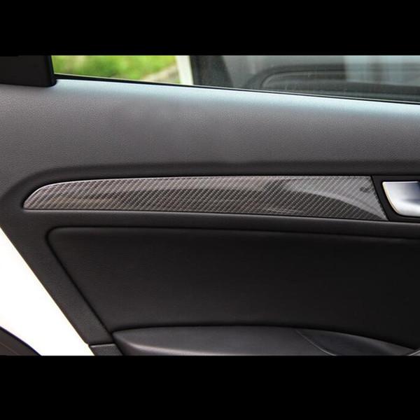 Fibre De Carbone Intérieur Panneau De Porte Décoration Couverture Garniture De Voiture Styling Autocollants 4 pcs Pour Audi Q5 2010-16 Auto Accessoires