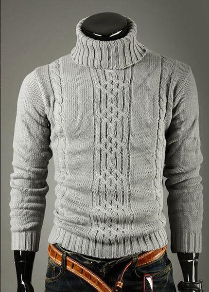 Moda-Erkekler Örme Kazak Moda Sonbahar Bahar Uzun Kollu Kaplumbağa Boyun Sıcak Dibe Kazaklar Tişörtü Tops Giysileri