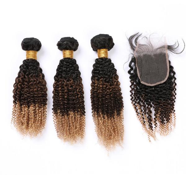 Kinky Curly # 1B 4 27 Ombre Malásia virgem do cabelo tramas com fecho Três Tone Curly Cabelo Humano Lace Encerramento 4x4 com Weave Pacotes