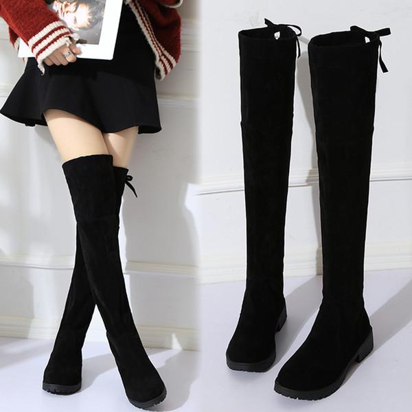wuhanqq / NEW alta Botas femininas de inverno Botas Mulheres sobre o joelho botas flat estiramento Sexy Fashion Shoes Preto