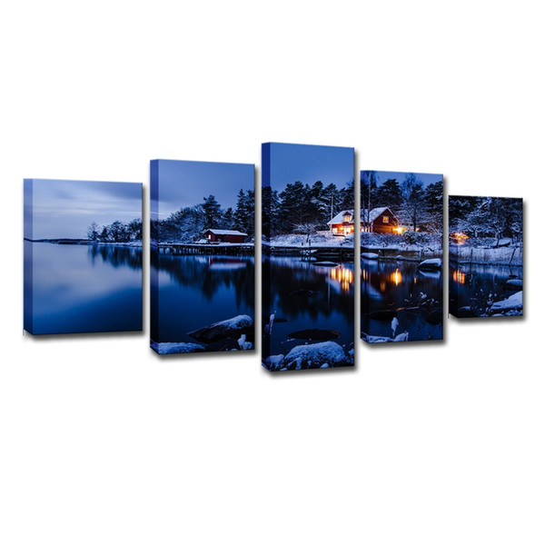(Only Canvas No Frame) 5Pcs Winter Snow House Lake Night Landscape Wall Art HD Print Canvas Painting Fashion Hanging Pictures