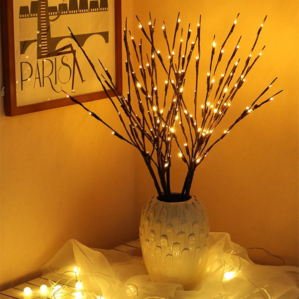 LED String Light Willow Branch Lamp 20Bulbs Branches Twig Vase Floral Tree Fairy Lights Battery Powered for Holiday Party Wedding Home Decor