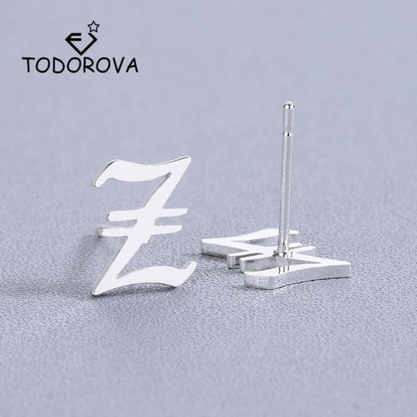 Тодорова женщин алфавит серьги женский капитал первоначальный Z серьги стержня для женщин аксессуары ювелирные изделия из нержавеющей стали