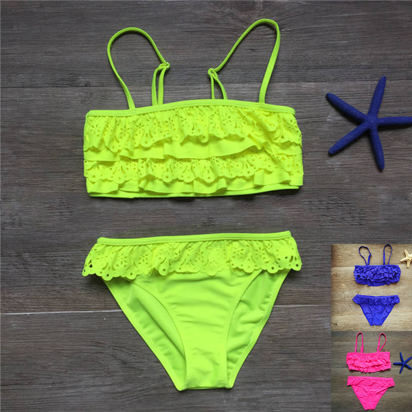 7-14years children swimwear falbala girls swimwear baby kids biquini infant swimsuit bikini girl Swimming