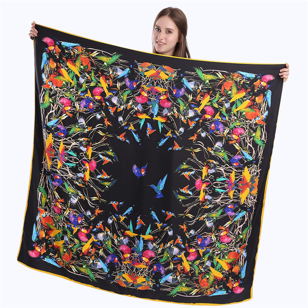 New arrival 2018 twill silk square scarf women 100% real silk Fashion Yellow / Blue / Black Printed bird square scarf silk gifts