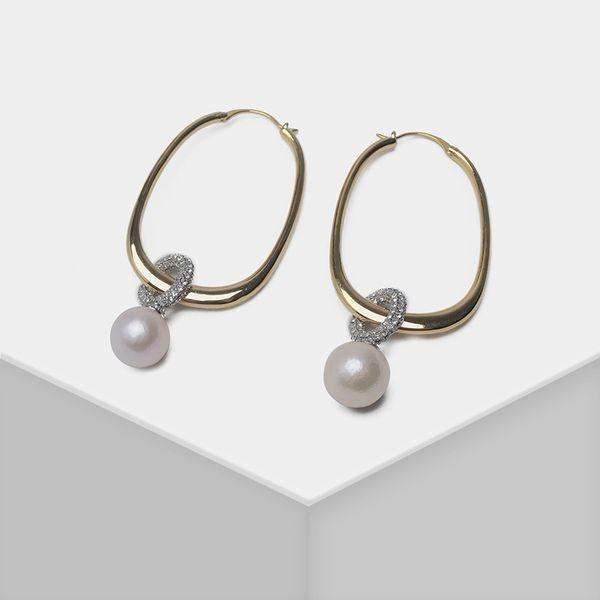 Colgante de perlas naturales geométricas elegantes pendientes de perlas de gota