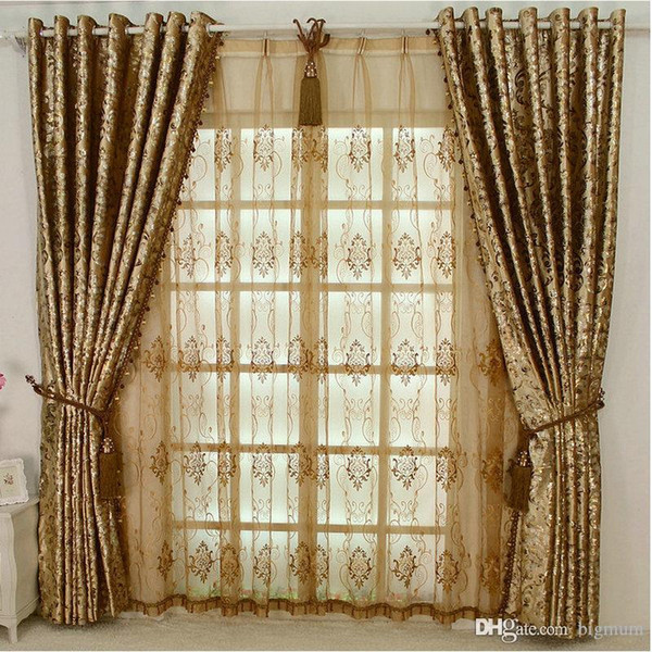 top popular Europen Style Blackout LUXURY Palace Curtain Without Beads For Hotel Villa Living Room Custom-made Golden Window Treatments New 2020