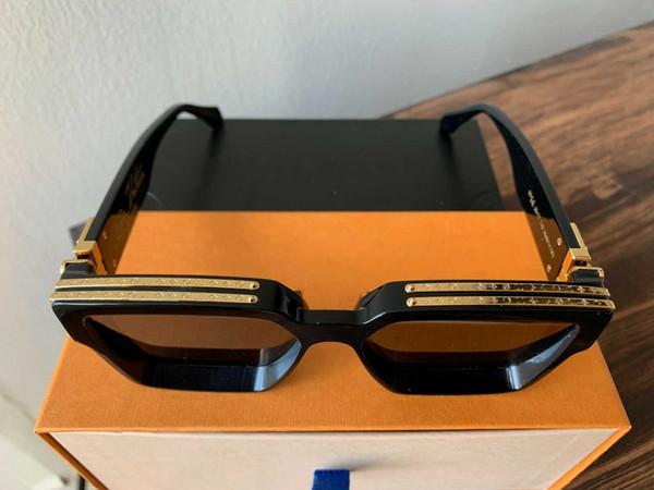 Lujo MILLIONAIRE Gafas de sol para hombre con montura completa Diseñador de época 1165 1.1 gafas de sol para hombre Shiny Gold Logo Venta caliente Chapado en oro Top 96006