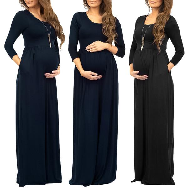 Femmes robe de maternité froncé côtés robes longues grossesse de grossesse femme manches 3/4 décontracté froncé lâche Maxi robe vestido