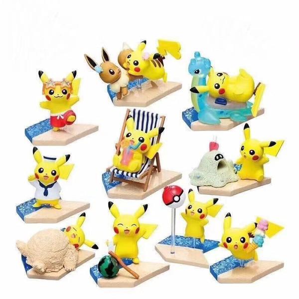 Best-seller Detective Pikachu pvc Praia Pikachu bonecas brinquedos dos desenhos animados animais brinquedos artigos de Decoração decoração melhores Presentes
