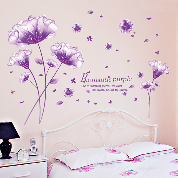Sticker Shijuehezi Purple Color Romantic Flower Sticker Diy Plant Wall Decals For House Living Room Bedroom Decoration Home Decor Sticker Decals For