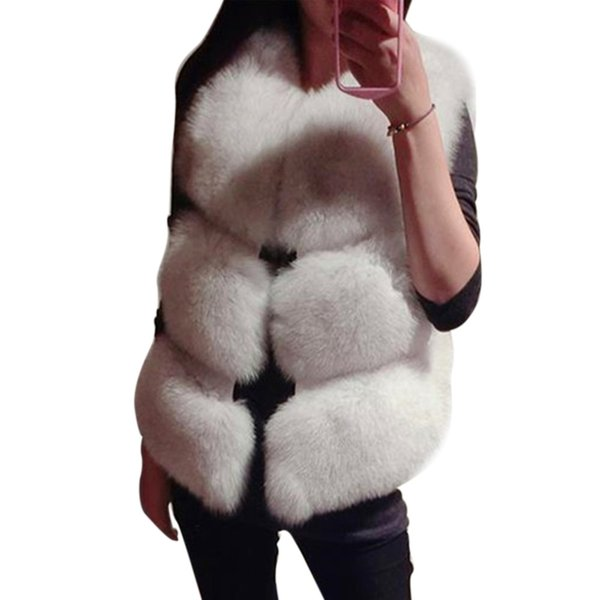 High Quality Women'S Winter Basic Coat Artificial Fox Fur Vest Brand Femme Fur Vests Fashion Luxury Ladies Jacket Warm Coat 2018