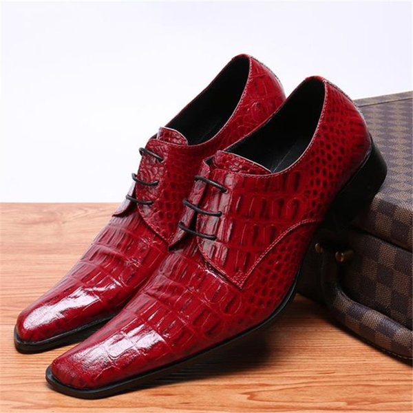 Cow leather pointed toe wedding men Shoes gentlemen red solid stage lace up low heel wedding men Shoes