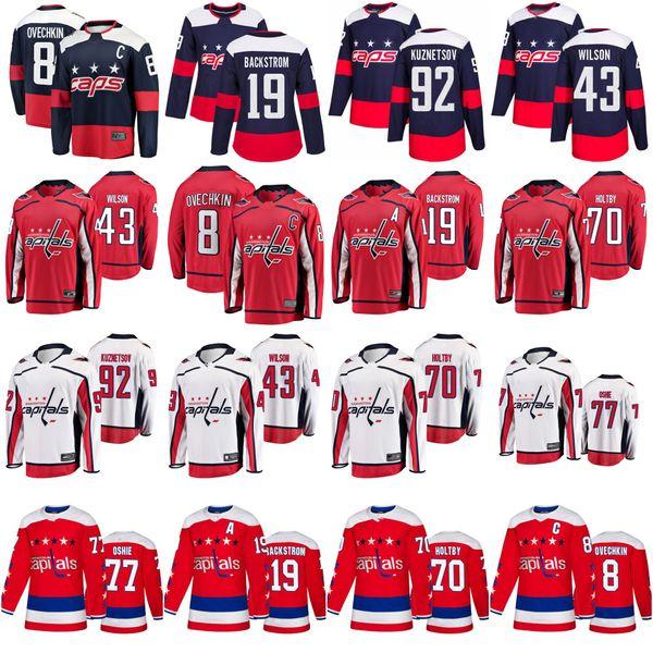 Washington Capitals Trikots 77 T. J. Oshie Jersey 8 Alex Ovechkin 70 Braden Holtby Eishockey Trikots genähte