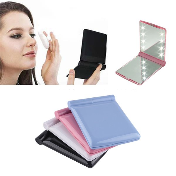 Makeup mirror with 8 led light lamp co metic folding portable compact pocket hand mirror make up under light