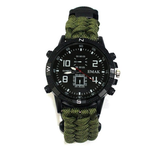 10in1 tactical watch Outdoor Paracord rope survival bracelet cord Watch Survival Gear compass whistle Reflector sos flashlight thermometer