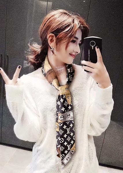 Tasarımcı eşarp bayanlar ince dar çanta kolu ipek eşarp çift taraflı baskılı dimi saten marka küçük ribbonc247 #