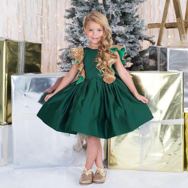 Christmas Green Dress.Lovely Emerald Girl Dress Sequin A Line Flower Girl Dresses Christmas Green Custom Made Satin Gowns Birthdays Gift Little Baby Girls Shoes Short