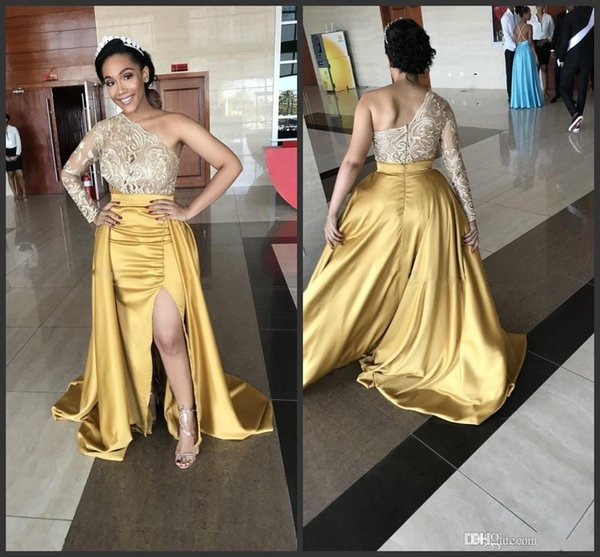 New Satin A Line Evening Gowns With Side Split Zipper Back Sweep Train Party Dress Long Sleeves Vestidos Lace one shoulder Prom Dresses Gown