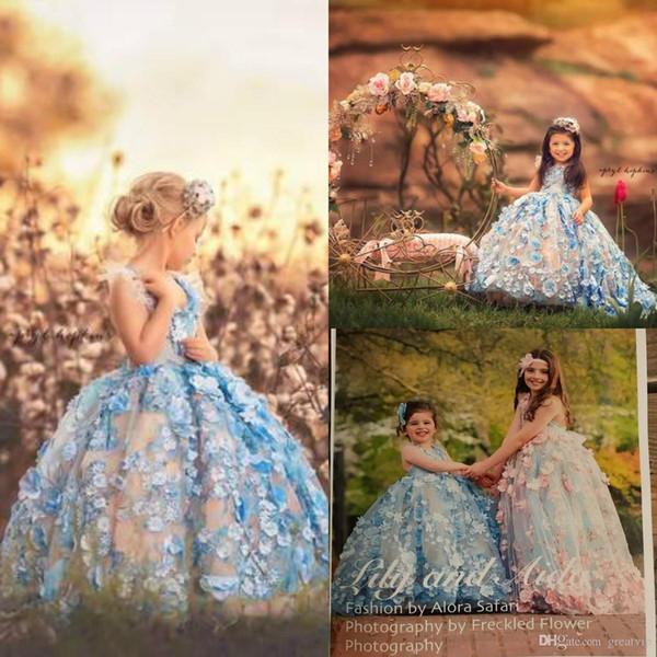 Luxe Bleu Princesse Fleur Filles Pageant Robes Appliques Perles Enfants En Bas Âge Robes De Fête D'anniversaire De Mariage Robe Sur Mesure