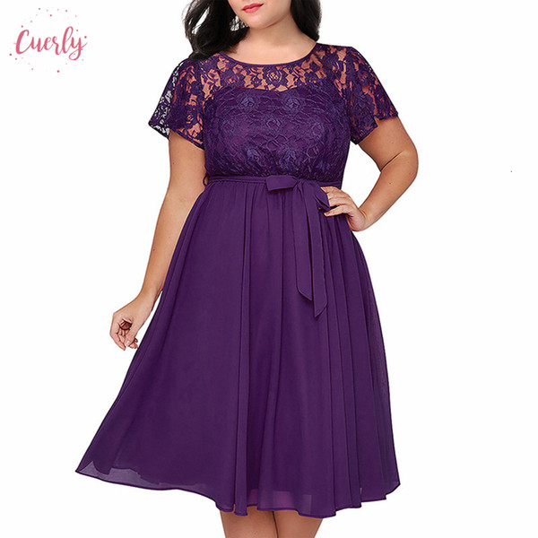 Dress Women Short Sleeve Floral Chiffon Top A Line O Neck Plus Size 8Xl 9Xl Party Lace Midi Cocktail Swing