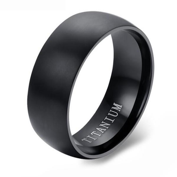 Round Surface Mens Classic Black Titanium Steel Plain Wedding Engagement Band Ring
