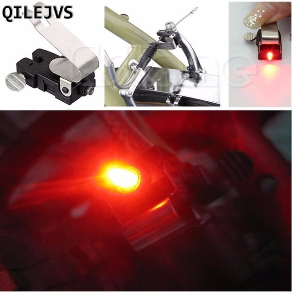 QILEJVS Portable Brake Mini Bike Light Mount Tail Rear Bicycle Led Light Cycling Button Battery Power Supply Bike Accessories #738620