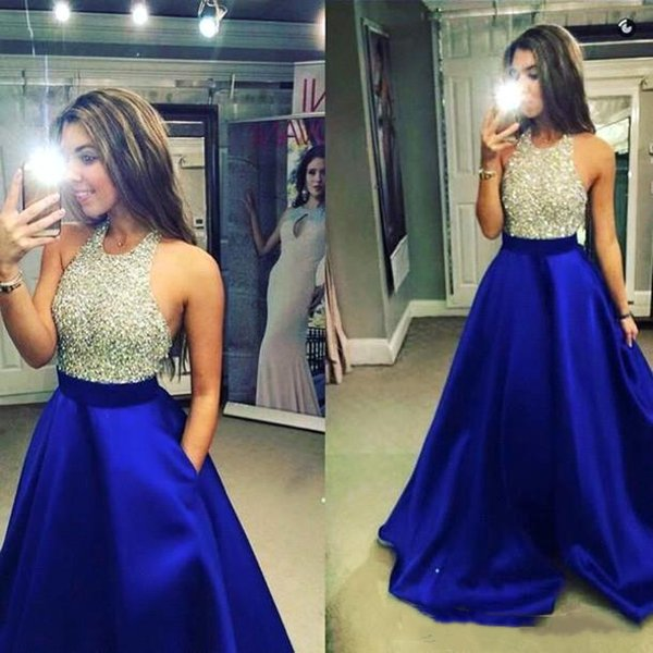 Halter Royal Blue Prom Dresses With Pockets Crystal Sequins Beaded Top 2019 Full Length Sexy Open Back Puffy Evening Gowns Cocktail Dress