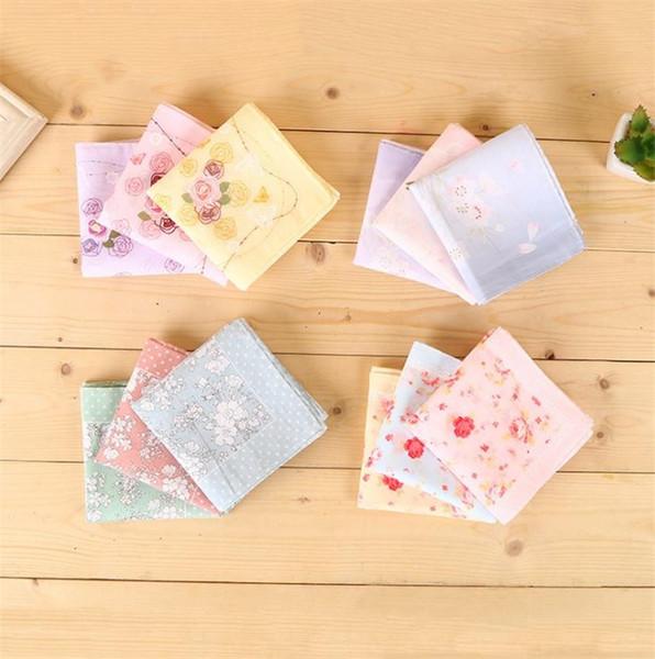 Combed cotton printed handkerchief Japanese handkerchief square towel embroidered handkerchief pure cotton tea Handkerchiefs C0210