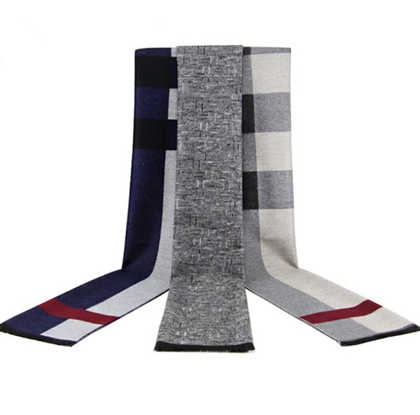 2019 new men's scarf winter warm thick plaid scarf men imitation cashmere brushed scarf