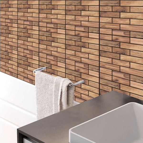 3d Stereo Simulation Wooden Texture Wall Sticker Diy Living Room Bathroom Bedroom Kitchen Tile Decor Self Adhesive Wallpaper Poster Art Vinyl Decals