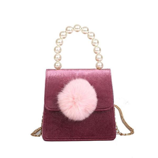 Charm2019 Arrival Velour Big Pearl Chain Hairball Pendant Handbag Tote Celebrity Women Shoulder Bag