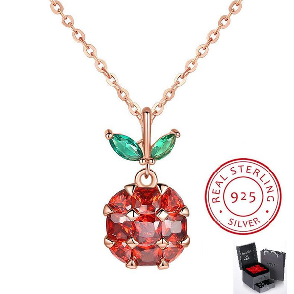 High Brand Top Quality Apple Style Jewelry Crystal S925 Sterling Silver Rhinestone Peace Fruit Shape Pendant Christmas Eve Gift