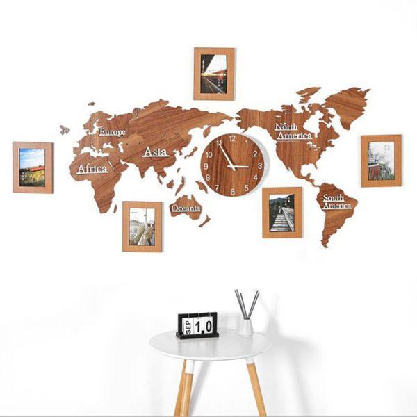 Yaratıcı Ahşap Dünya Haritası Duvar Saati ile 3 parça Fotoğraf çerçevesi 3D Harita Dekoratif Ev Dekor Oturma Odası Modern Avrupa Tarzı Yuvarlak Dilsiz