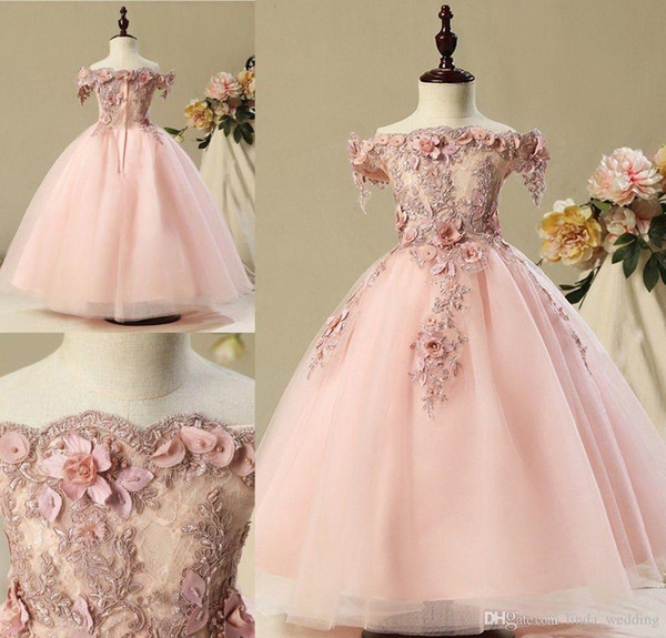 Allık Pembe Güzel Sevimli Çiçek Kız Elbise Glamorous Vintage Prenses Kızı Toddler Güzel Çocuklar Pageant Örgün İlk Komünyon Törenlerinde