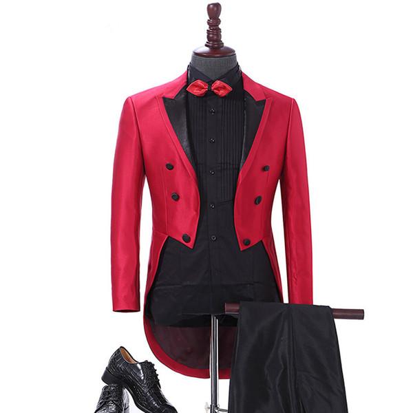 Elegant Men Suit Red Tailcoat Mens Suits for Wedding Dinner Groom Tuxedo Jacket Pants 2Pcs Custom Made Big Size