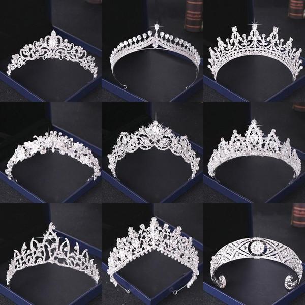 Кристалл Rhinestone Свадебные короны серебряные невесты Диадемы и короны головной убор Аксессуары для волос для женщин Свадебные головной убор