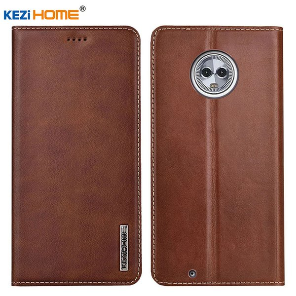 wholesale for Motorola Moto G6 Plus KEZiHOME Luxury Genuine Leather Flip wallet Cover for Moto G6 Phone cases