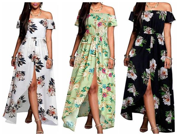 Женское платье Slash Nech Сексуальное плечо с коротким рукавом без бретелек Split Elegant Lady с цветочным принтом Длинная юбка Повседневные свободные платья Размер S-XL