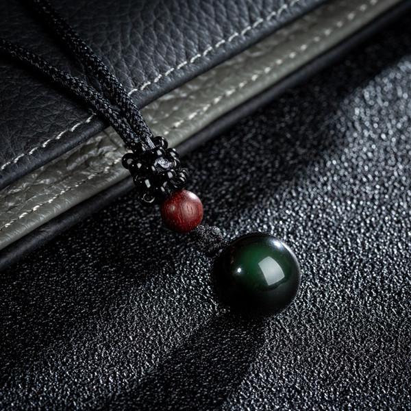 Black Real Colar de Pingente de Obsidiana Qualidade Suave Rodada Pedras Cordas Ajustáveis 12mm 14mm 16mm 18mm Opções