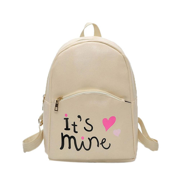 New High Quality Letter Pattern It's Mine Fashion Women Backpack Leather School Bags Girls Top Handle Backpack mochila K2783