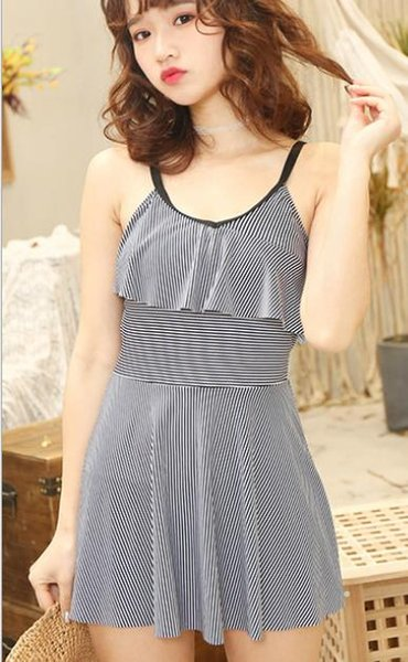 2019 new one-piece swimsuit female conservative cover belly striped skirt type flat angle slim strap small chest gathered Korean hot spring