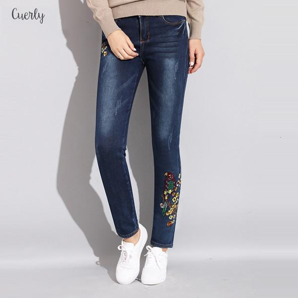Aqueça bordados Jeans Inverno das mulheres de Slim Denim estiramento magros Veludo Mulher de ganga para mulheres quentes Calças Jeans Pencil Denim Calças