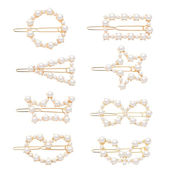 CHENFAN Korean version of the new popular ins sweetness hairpin fashion geometry pearl duck mouth clip girls hair accessories